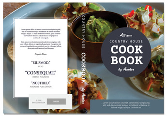Cookbook Cover Layout with Gray Circle Title Element