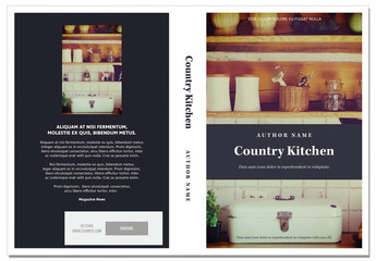 Cookbook Cover Layout with Peach and Gray Accents