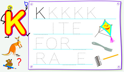 Educational page for young children with letter K for study English. Developing skills for writing and reading. Vector cartoon image.