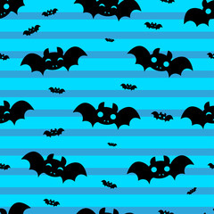 Abstract seamless halloween pattern for girls or boys. Creative vector halloween pattern with bat, cloud boo. Funny halloween pattern for textile and fabric. Fashion bat style. Colorful bat picture.