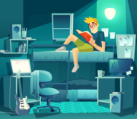 Vector dormitory room at night. Roommate on the bunk with lamp light, exam preparation. Interior with furniture, inside the student dorm. College, university small apartment.