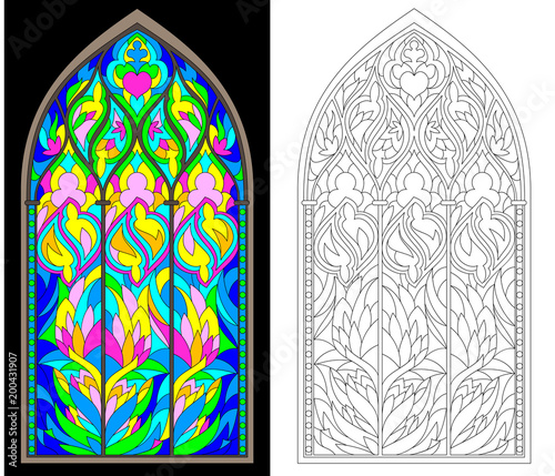 Colorful And Black White Pattern Of Gothic Stained Glass Window Worksheet For Children