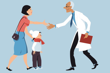 Mother bringing a sick little girl to a pediatrician, shaking hands with a doctor, EPS 8 vector illustration