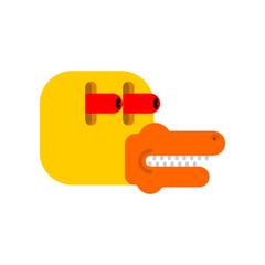 Duck in shock cartoon style. Frightened eyes. Panic Bird