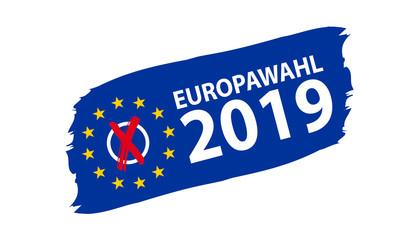 Europawahl 2019 - Vektor Banner inklusive Wahlkreuz