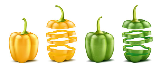 Vector realistic green and yellow bell peppers. Whole and sliced isolated on white background. Pod of sweet bulgarian pepper, ripe vegetable for cooking and eating, organic vegetarian food. Wall mural