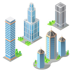 Vector set of isometric modern buildings in cartoon style. Urban skyscrapers, town exterior, residential construction. Architecture, cityscape concept