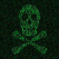 skull and crossbones with binary code. virus concept