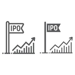 Initial public offer line and glyph icon, development and business, ipo sign vector graphics, a linear pattern on a white background, eps 10.