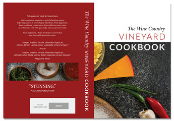 Cookbook Cover Layout with Red Accents