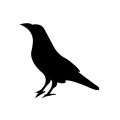 raven silhouette images on white background, in black