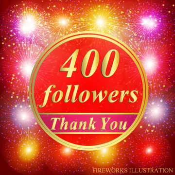 Followers background. 400 followers. Vector.