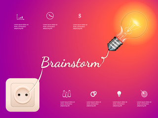 Electric bulb and switch on purple background. Brainstorm concept. Vector infographic illustration