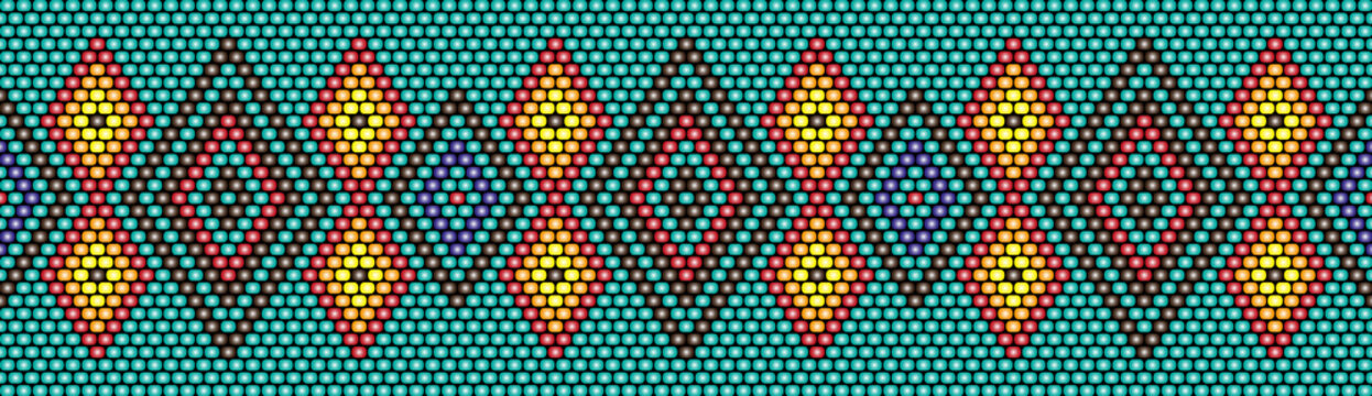 Trendy, modern ethnic beaded, border, pattern, embroidery cross, diamonds, stripe