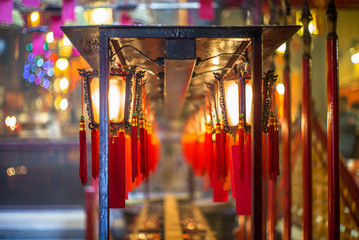 Beautiful Chinese lanterns in the Buddhist temple of  Man Mo in Hong Kong - 1