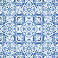 Blue seamless pattern. Oriental traditional ornament, tile design, vector illustration
