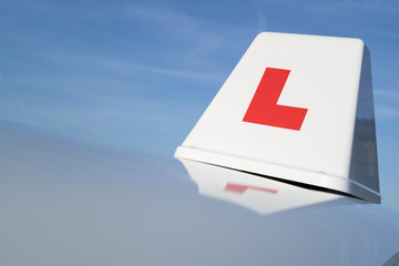 British driving school car roof sign