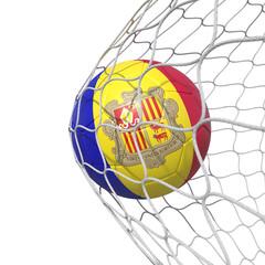Andorran Andorra flag soccer ball inside the net, in a net.