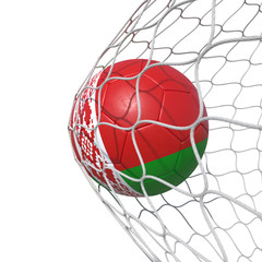 Belarus Belorussian flag soccer ball inside the net, in a net.