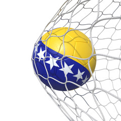 Bosnia and Herzegovina flag soccer ball inside the net, in a net.