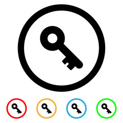 Circular, flat, black key icon. Simple design. Five color variations. Isolated on white
