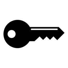 Simple, flat, black key silhouette icon. Isolated on white