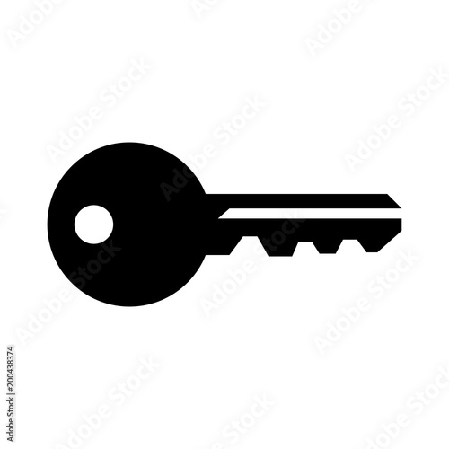 black house key. Simple, Flat, Black Silhouette Of A House Key. Isolated On White Key