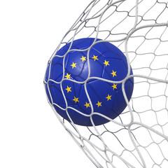 Euro Europe European flag soccer ball inside the net, in a net.