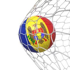 Moldova Moldovan flag soccer ball inside the net, in a net.