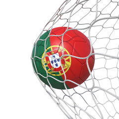 Portugal Portuguese flag soccer ball inside the net, in a net.