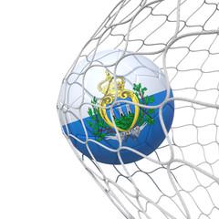 San Marino flag soccer ball inside the net, in a net.