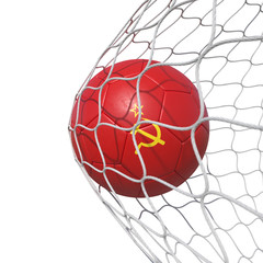 Soviet Union flag soccer ball inside the net, in a net.