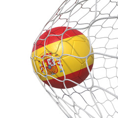 Spain Spanish flag soccer ball inside the net, in a net.