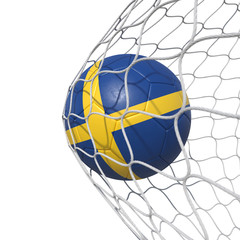 Sweden Swedish flag soccer ball inside the net, in a net.