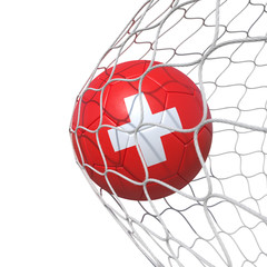 Switzerland Swiss flag soccer ball inside the net, in a net.
