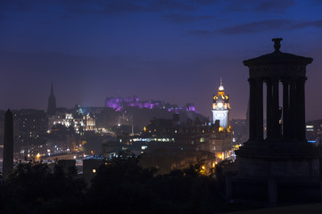 Edinburgh skyline at night from Calton Hill