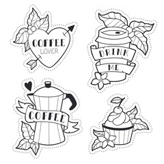 Coffee illustrations set. Cute lineart style. Coffee stuff.  Vector print, stickers, icons