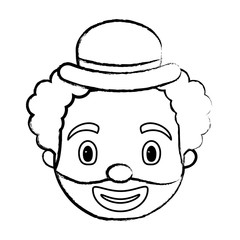 sketch of cartoon clown face with hat over white background, vector illustration