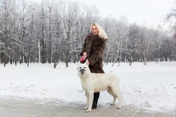 Beautiful blonde woman walking with White Swiss shepherd dog in winter