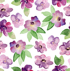 Floral seamless pattern. Watercolor painted flowers with leaves. Hand drawn flowers.