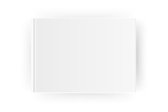 Blank horizontal A4 book cover template . Mock up closed magazine or notebook. Isolated on white background. Vector
