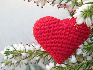Love heart and white Heather flowers. Red knitted heart, symbol of love. Romantic background with free space for text
