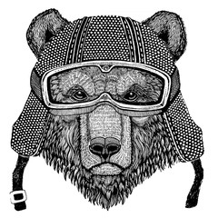 Brown bear Russian bear Animal wearing motorycle helmet. Image for kindergarten children clothing, kids. T-shirt, tattoo, emblem, badge, logo, patch
