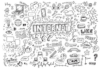 Hand drawn internet doodles