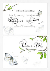 Set of two templates for greetings or invitations to the wedding in green and pink colors. Illustration by markers, a cute background of twigs with green leaves and white butterflies.