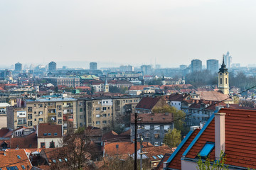 Belgrade, Serbia April 07, 2018: Panorama of Belgrade and roofs of Zemun from the tower of Gardos.