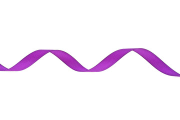 Purple ribbon in the shape of a spiral on a white background