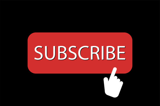 Subscribe red button with hand icon