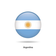 Argentina flag - round glossy button. Vector Illustration.