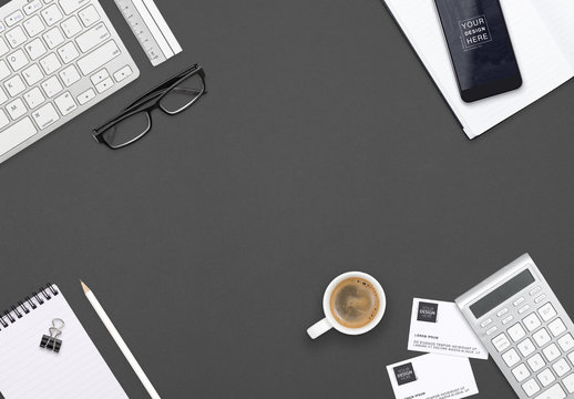 Devices and Office Supplies on Dark Gray Background Mockup